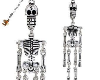Antique Silver - Skeleton Pendant - Skeleton Jewelry - Human Anatomy - Halloween Jewelry - Human Skeleton - Skeleton - Human Bones - P0015