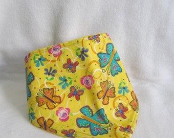 Butterflies Bandana Bib, Butterflies and Flowers Dribble Bib, Baby Bandana Bib, Butterflies, Flowers