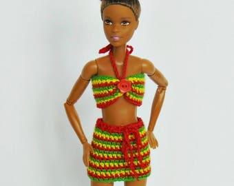 Barbie outfit, barbie clothes, barbie clothing, barbie doll, barbie, rasta, crochet, barbie crochet, summer, barbie dress, multicolor