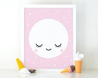 Sleepy Eyes, moon print, Good night print, Minimalist printable, Kids room decor, Nursery decor, cute wall art, nursery wall art