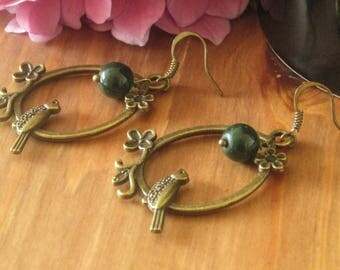 Handmade bird earrings(bronze), jade.
