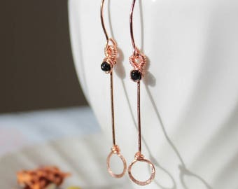 Wire Wrapped Black Tourmaline Dangle Drop Earrings in Rose Gold, Contemporary Geometric Jewelry, October Birthstone Minimalist Earrings