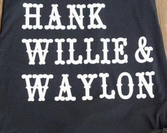 Cash, Hank, Willie & Waylon tank top