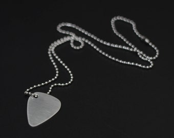 Brushed Stainless Steel Matte Silver Guitar Pick Pendant with Matching Ball Chain Necklace