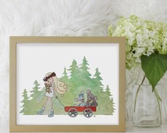 Goldilocks Art Print, Goldilocks Children's Fairy Tale Art, Nursery Wall Decor, Baby Girl Shower Gift, Girl Room Illustration Print