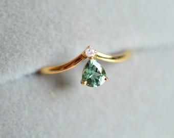 Green Tourmaline Engagement Ring Blue Tourmaline Engagement Ring Mint Tourmaline Wedding Ring 14k 18k Mint Gemstone Engagement Ring Wedding