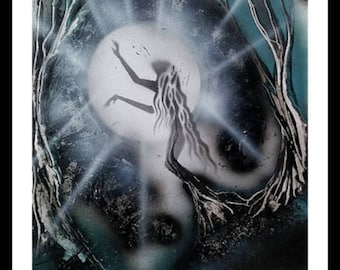 """Spray Paint Art, """"The Transition"""", A3, UNIQUE, Spray Paint, Acrylic Painting, Mural, Mystic, Esoteric, Painting Woman, Painting Tree, Magic"""