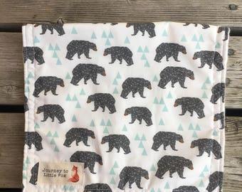 Flannel Geo Bears burp cloth