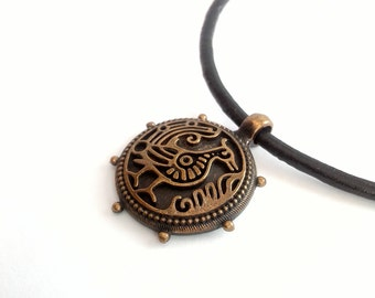 Bird Pendant, Slavic Bird Necklace, Bronze Bird Necklace, Pagan Jewelry