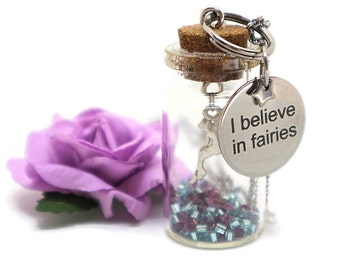 Fairy bottle pendant - Silver fairy necklace - Glass bottle necklace - Fairy dust necklace - Gift for girls - Cute necklace for girls
