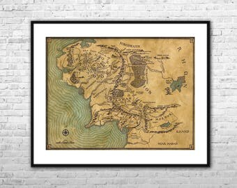 Lord of the Rings Map - Archival Paper and Canvas Print Lord of the Rings Wall Art Home Decor Multi panel LOTR map poster Middle Earth map