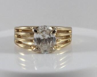 Gold Tone White Cz Stone Ring Size 6.5