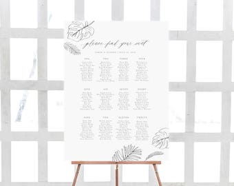 Monstera Wedding Seating Chart Template / Printable and Editable Digital File / Monstera Leaf / Tropical Leaves / Palms
