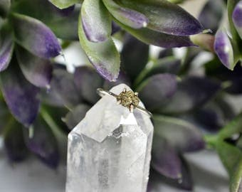 Raw Pyrite Ring - Sterling Silver & 14k Gold Fill