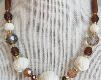 """Upcycled Jewelry -  """"Coming Up Roses"""" Beaded Necklace - Made with Vintage and New Materials"""