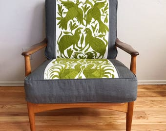 Bohemian Danish Modern Lounge Chair in Mexican Otomi