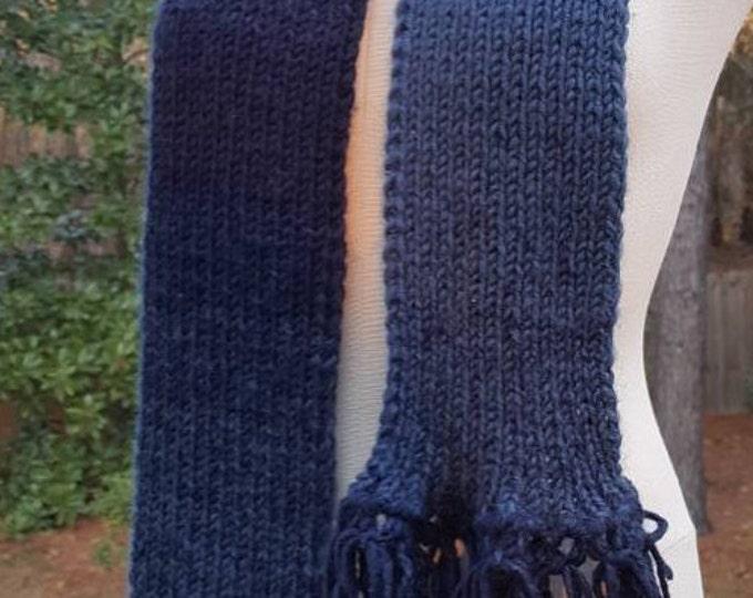 Handmade Knitted Warm Soft Wool Blend Bulky Denim Blue Fringed Scarf Machine Wash Scarfie