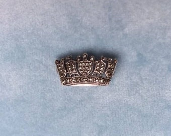 Vintage Art Deco Sterling Silver and Marcasite Crown Brooch, Lapel Pin