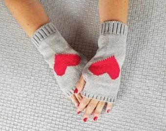 Fingerless Gloves, Adult Fingerless Gloves, Grey Colored Fingerless Gloves, Red Heart Fingerless Gloves, Adult Wristers,