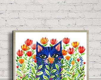 Blue Cat With Flowers, Cat Prints, Kitty Print, Digital Prints, Digital Download, Watercolor Print, Cat Lover, Nursery Decor, Floral Print