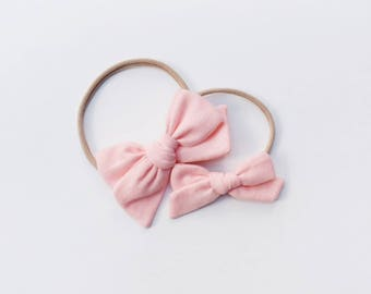 Peachy Pink Soft Double Gauze Fabric Bow | Baby headband set, Baby bow Headband, Small Bows, Baby Bows, Baby girl Valentines Day outfit,