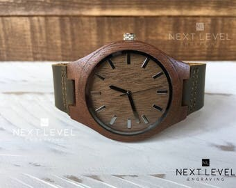 Brown Wooden Watch, Mens Wrist Watch, Leather Wood Watch, Engraved Mens Watch, Wood Watch, Mens Personalized Watch, Wooden Watches for Men