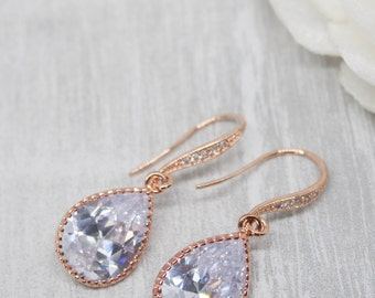 Earrings rose gold drops wedding bride Bridal jewelry