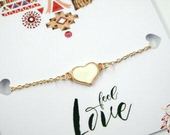 Heart bracelet | heart gold bracelet, white heart, love bracelet, minimalist bracelet, gift for her, quote card, friendship bracelets, gift