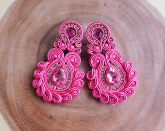 Soutache| Soutache earrings| Soutache stud earrings| Soutache Long earrings| Bridesmaids Earrings| Soutache Jewelry| Long earrings