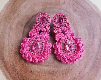 Soutache| Soutache earrings| Soutache stud earrings| Soutache Long earrings| Bridesmaids Earrings| Soutache Jewelry| Long earrings
