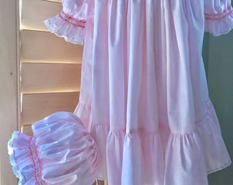 Vintage Heirloom Smocked Custom made Bishop Dress w/ Smocked bonnet.