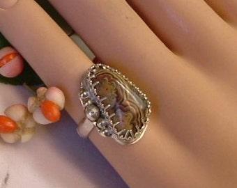 Utah Flowering Tube Onyx  Ring OOAK in .925 Fine Sterling Silver Statement Ring Size 5      347 B