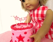 American Girl Party Cake, Birthday Food for 18 inch dolls, Miniature Doll Cake, Doll Party Supplies, Party Accessories