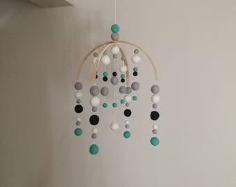 Mint Navy White & Grey Felt Ball Mobile | Nursery Decor | Baby Mobile | Baby Shower Gift | Felt Ball Mobile | Modern Mobile | Baby