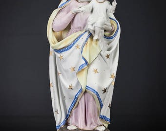 "15"" Beautiful Antique Madonna with Child Christ Bisque Porcelain Statue Virgin Mary with Baby Jesus Figure"