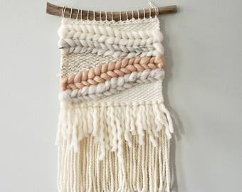 Woven Wall Hanging / Weaving / Tapestry / Wall Art / Nursery Decor / Home Decor / Pink, Peach, Cream, White, Neutral