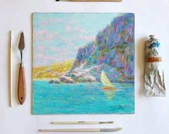 Painting Sea Landscape Painting Oil Painting Art Classical Seascape Original Painting Art Gifts home interior decor book shelf cliff salatov