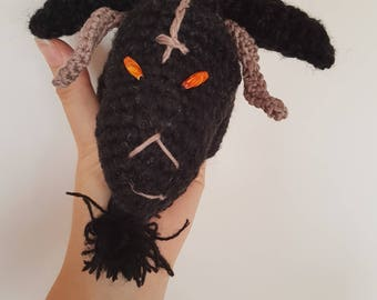 Lucifer Baphomet puppet, Black goat, Pagan goat, Occult, Satanic toys, Pagan, Witches, Satanic symbol, Devils Horns, Goat with pentagram,