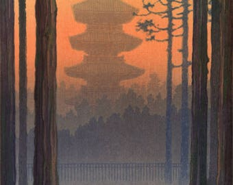 "Japanese Art Print ""Pagoda at Nikko"" by Yuhan Ito, woodblock print reproduction, asian art, sunset, dusk, landscape, countryside, Japan"