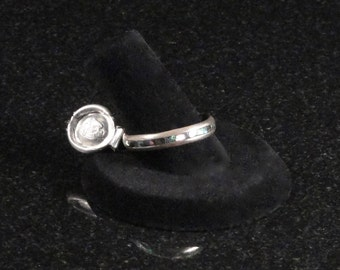 Vintage Rancho Alegre Silver Band, Abalone Inlay, Stackable Ring c1950s