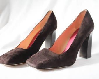 Kate Spade Size 9.5 Brown Suede Square Toe Block Heels
