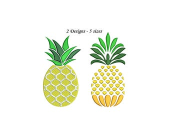 Pineapple Embroidery Design - 3 designs 5 sizes each instant download