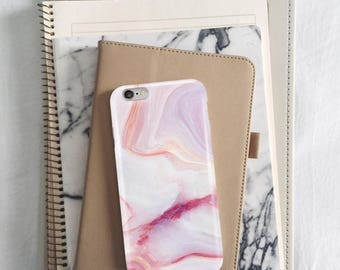 Pink Marble Phone Case iPhone SE Marble Case Rose Marble iPhone 8 Plus Case Rose Gold Marble Design Marble Cover for iPhone 7 Gift for Girl