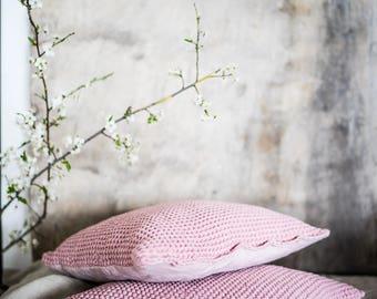 Linen Throw Pillow, stonewashed linen, waffle textured decorative pillow, linen pillow, rustic, pink