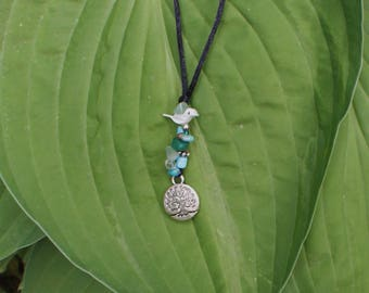 Silver Tree and Blue, Green, and Bird Bead Necklace