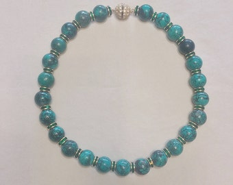 Turquoise and Emerald Rhinestone Bead Necklace