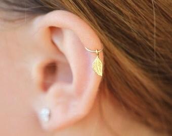 Cartilage Earring Hoop,silver leaf cartilage hoop,20 g helix hoop earring,helix hoop