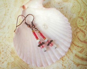 Rustic red Small Beaded Earring boho red grey Very light earring woman red autumn jewelry sister small gift for coworker valentine day gift