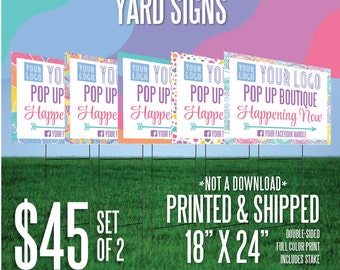 LuLaRoe Yard Sign - Pop Up Happening Now (Set of 2) - White w/Full Color Logo & Your Text