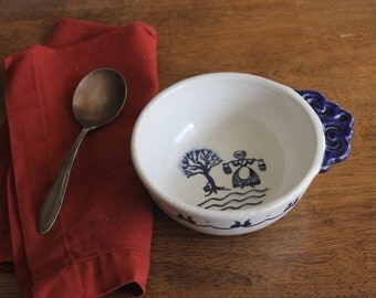 One Handle Soup Bowl with Saucer